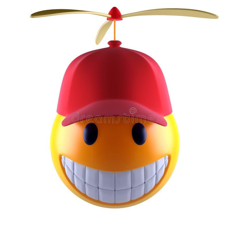 Het gezicht van glimlachemoji met honkbal GLB vector illustratie