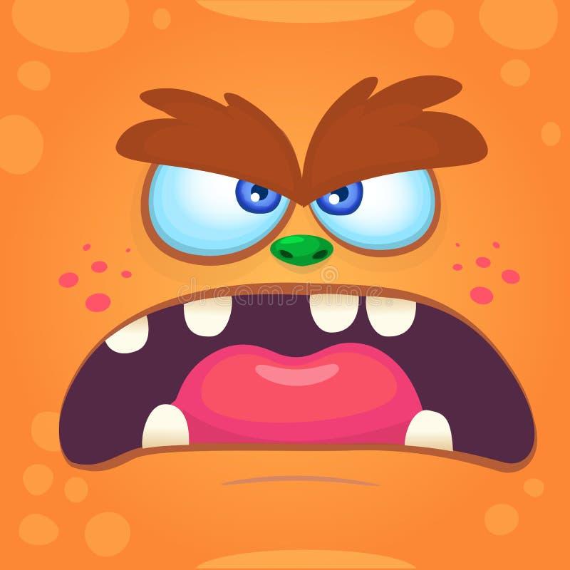 Het Gezicht van het beeldverhaalmonster Het vector oranje gekke boze monster van Halloween Schrikmonster vector illustratie