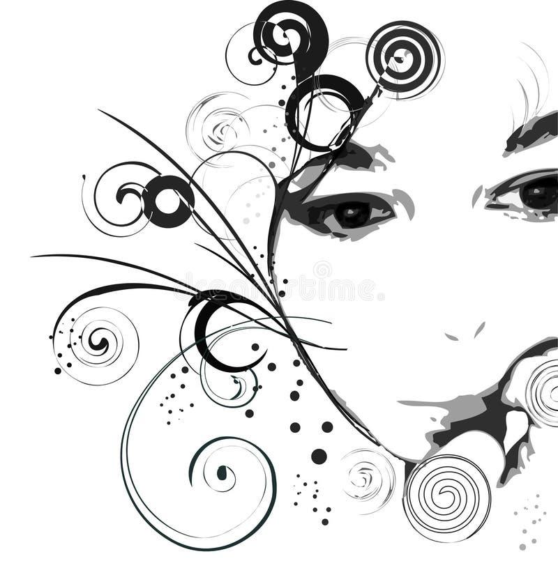 Het gezicht van het meisje royalty-vrije illustratie
