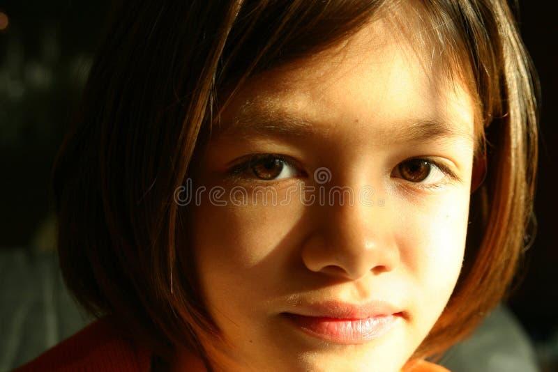 Het gezicht van het meisje - expressieve ogen stock foto