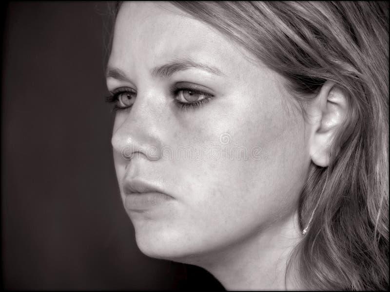 Het gezicht van het meisje van de tiener in zwart-wit stock afbeelding