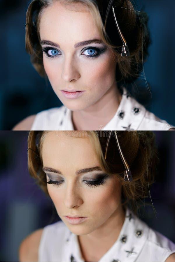 Het gezicht van het mooie meisje met Perfecte Make-up rokerige ogen royalty-vrije stock foto