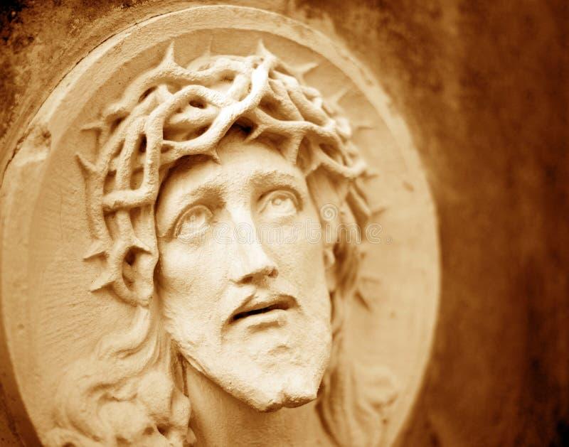 Het gezicht van Jesus Christ in een kroon van doornen als symbool van suf royalty-vrije stock afbeelding