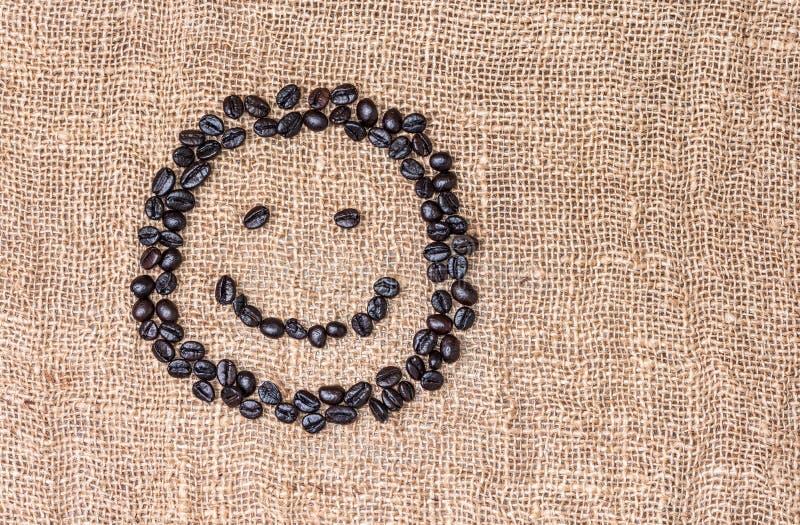 Het gezicht van koffiesmiley stock foto's