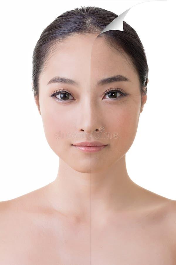 Het gezicht van mooie Aziatische vrouw retoucheert vóór en na royalty-vrije stock foto's