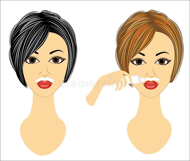 Het gezicht van twee meisjes De dames maken gezichtsontharing op hun  Verwijder het haar over de hogere lip met een gel en een wa vector illustratie