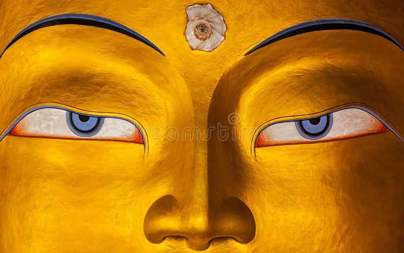 Het gezichts dichte omhooggaand van Maitreyaboedha, Ladakh royalty-vrije stock foto