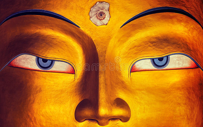 Het gezichts dichte omhooggaand van Maitreyaboedha, Thiksey Gompa, Ladakh royalty-vrije stock afbeeldingen