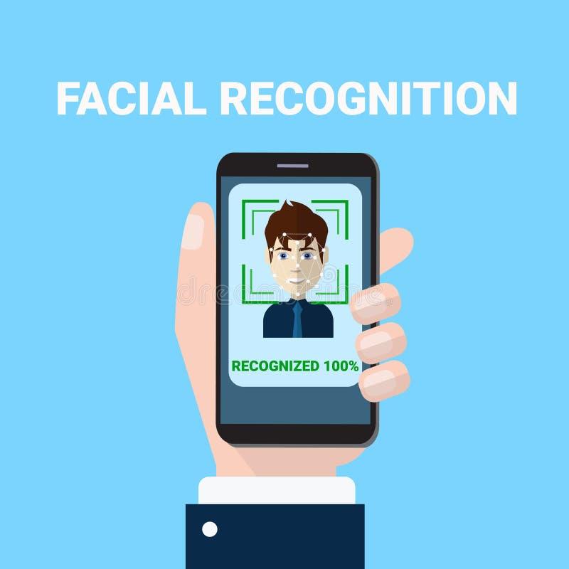 Het gezichts van de de Handholding van het Erkenningsconcept Aftasten van Smartphone van Mannelijk van de het Aftastentoegang van royalty-vrije illustratie