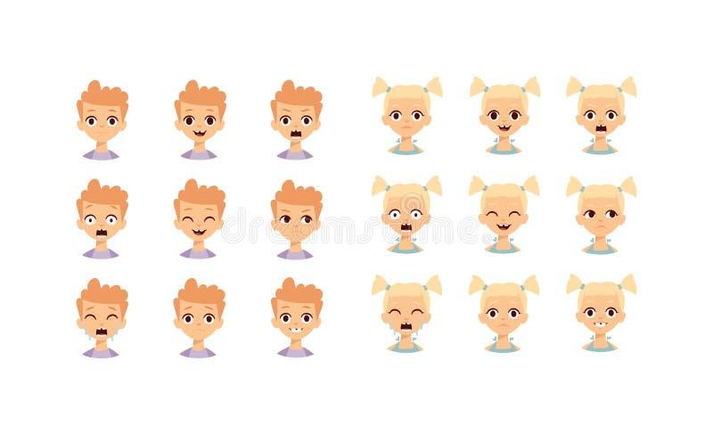 Het gezichts vectorillustratie van jonge geitjesemoji vector illustratie