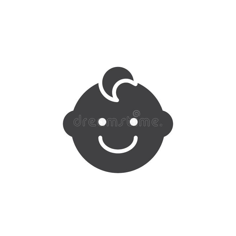 Het gezichts vectorpictogram van de babyjongen stock illustratie