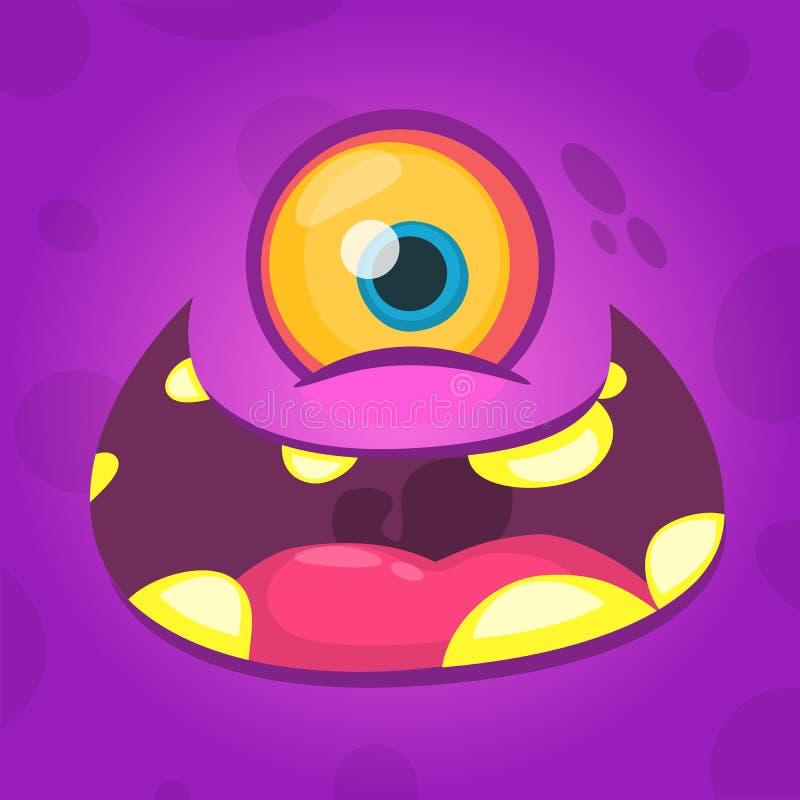 Het gezichtsavatar van het beeldverhaal leuke monster met één oog Vector illustratie stock illustratie
