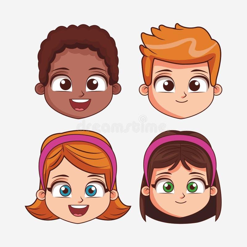Het gezichtsbeeldverhaal van kinderen royalty-vrije illustratie