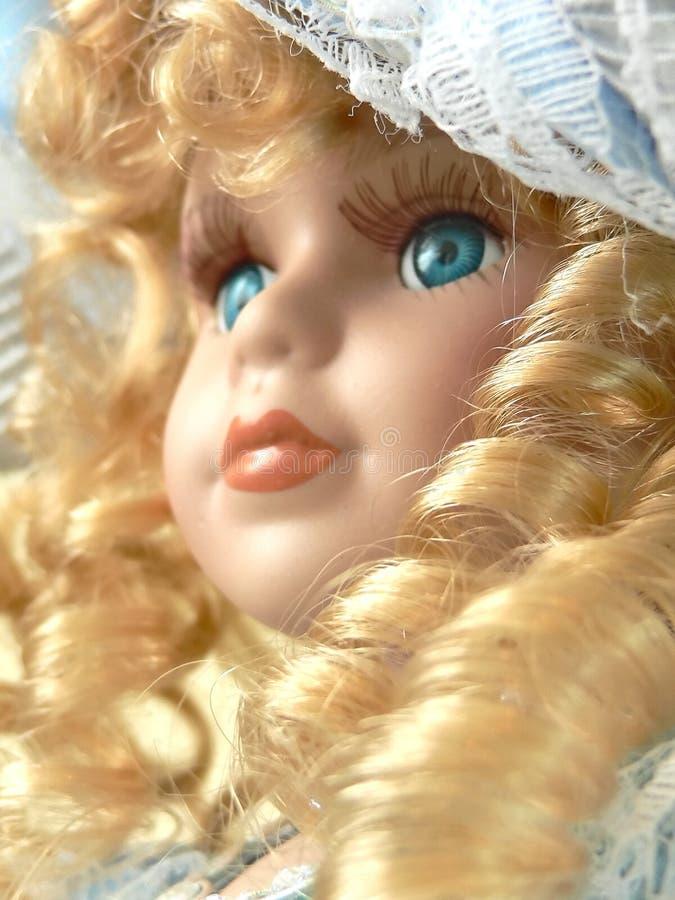Het gezichtsclose-up van Doll royalty-vrije stock afbeeldingen