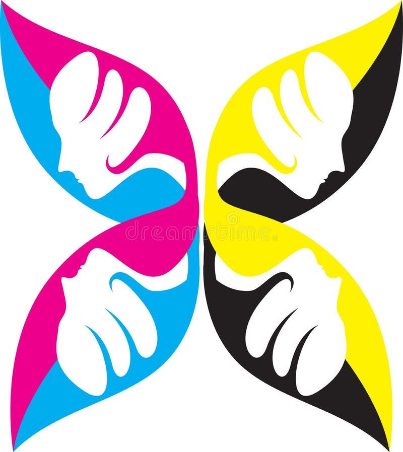 Het gezichtsembleem van de vlinder vector illustratie