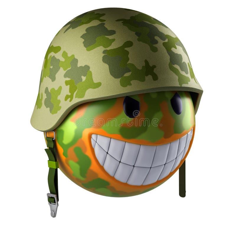 Het gezichtsgebied van glimlachemoji met militaire helm stock illustratie
