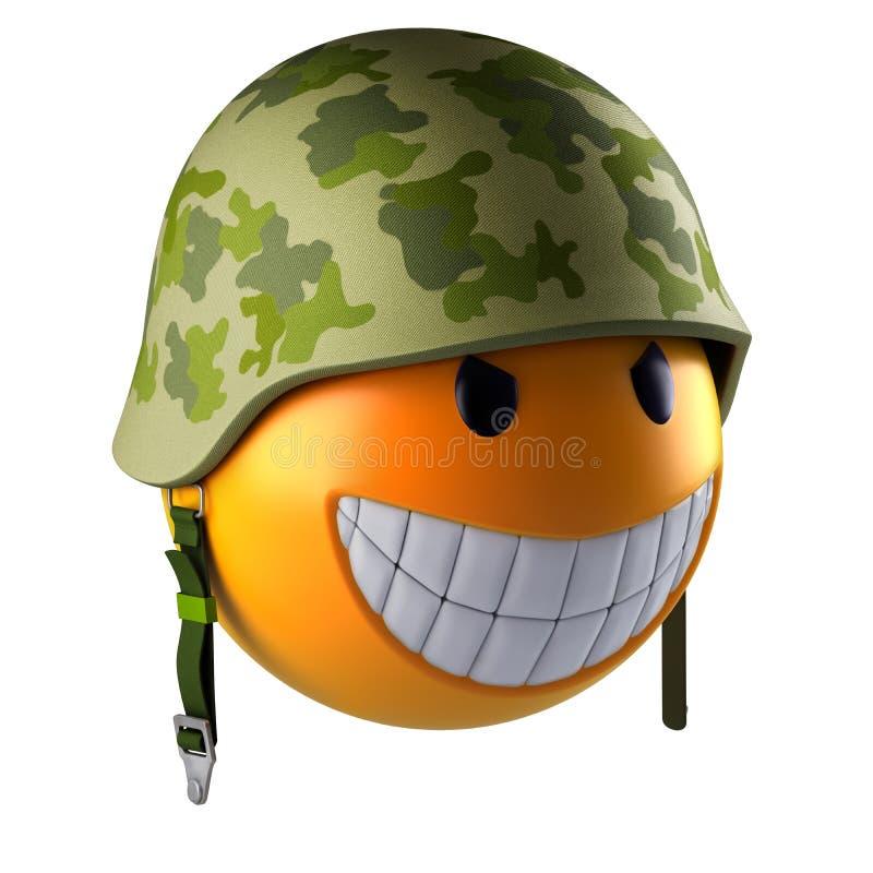Het gezichtsgebied van glimlachemoji met militaire helm vector illustratie