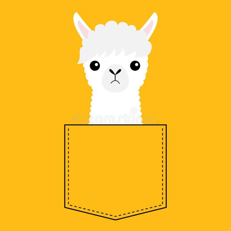 Het gezichtshoofd van de alpacalama in de zak Leuke beeldverhaaldieren Kawaiikarakter Vlak ontwerp Dierlijke inzameling Witte en  stock illustratie