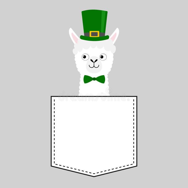 Het gezichtshoofd van de lamaalpaca in de zak De groene dag van hoedenpatrick Leuke beeldverhaaldieren Kawaiikarakter Vlak ontwer stock illustratie