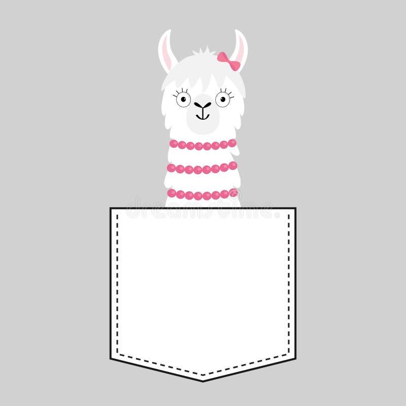 Het gezichtshoofd van de lamaalpaca in de zak Roze boog Leuke beeldverhaaldieren Vlak ontwerp Kawaiikarakter Witte en zwarte kleu vector illustratie