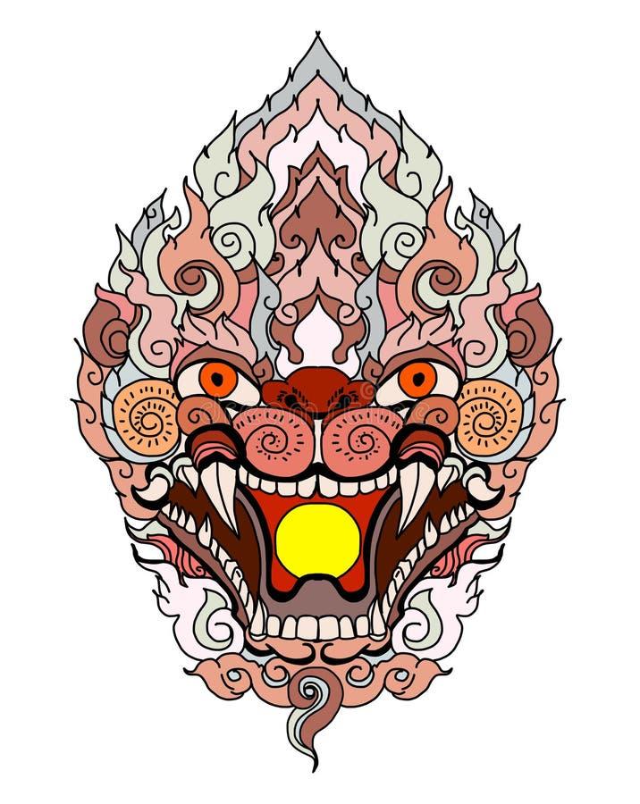 Het gezichtsontwerp van de Anumanaap met golf en pioenbloem op wolkenachtergrond Thais Demonmasker en Lijn Thaise stijl royalty-vrije illustratie