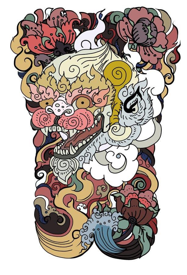 Het gezichtsontwerp van de Anumanaap met golf en pioenbloem op wolkenachtergrond Thais Demonmasker en Lijn Thaise stijl stock illustratie