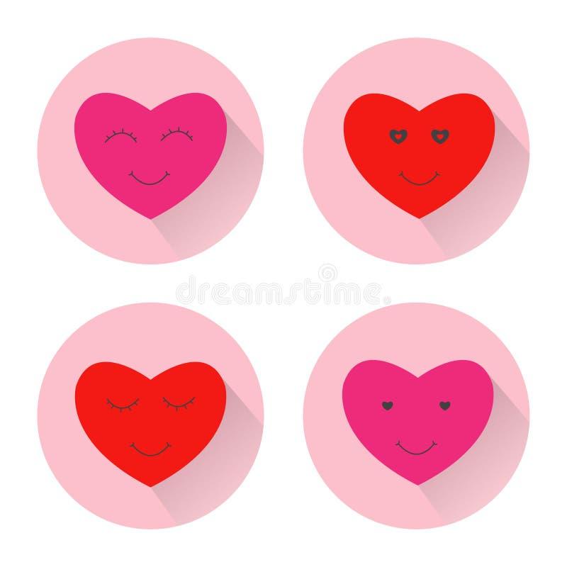 Het gezichtspictogram van de hartglimlach De vlakke illustratie van de ontwerpkleur met lange schaduw royalty-vrije illustratie