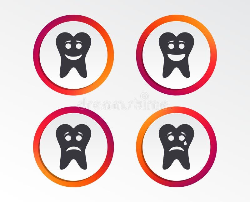 Het gezichtspictogrammen van de tandglimlach Gelukkig, droevig, schreeuw stock illustratie