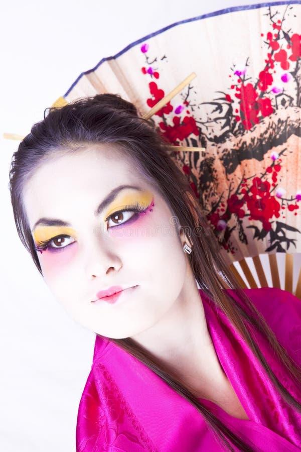 Het gezichtsportret van de geisha stock afbeelding