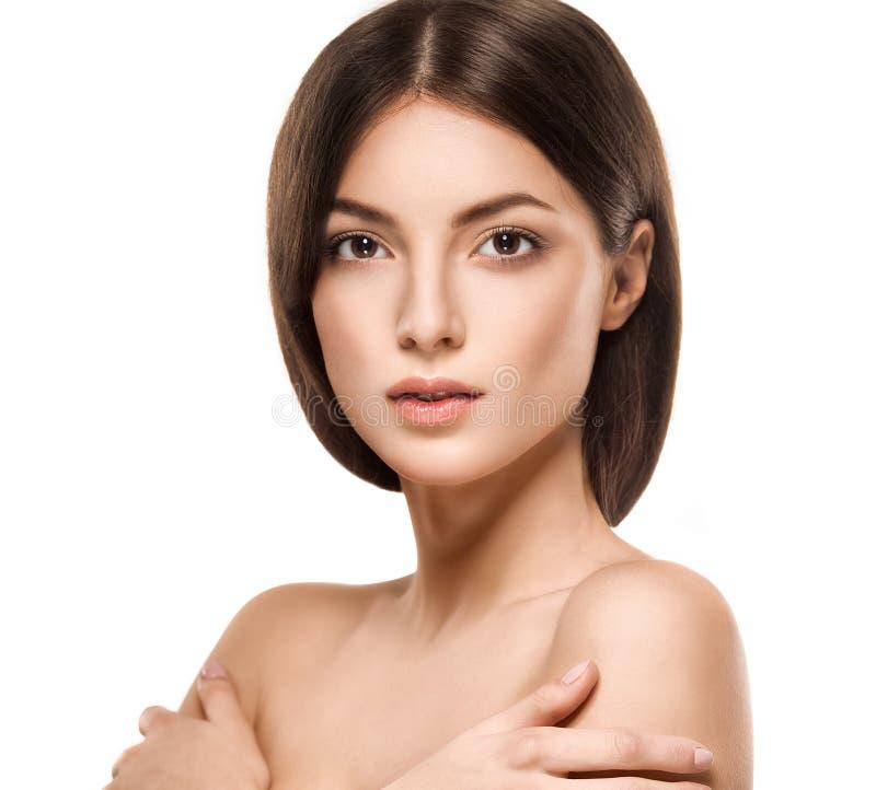 Het gezichtsportret van de schoonheidsvrouw Mooi modelGirl met Perfecte Verse Schone Huid royalty-vrije stock afbeelding