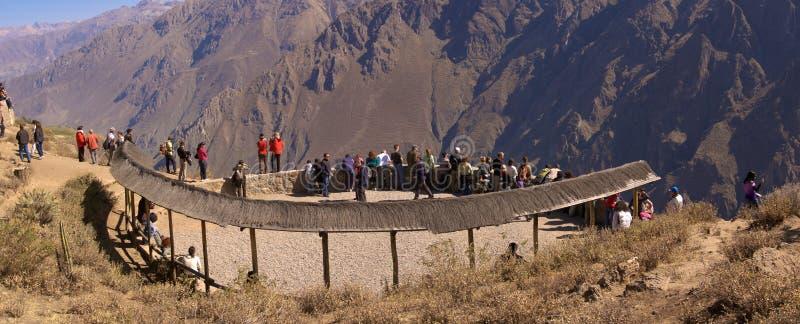 Het gezichtspunt van Colca Canyon Cruz del Condor stock afbeeldingen