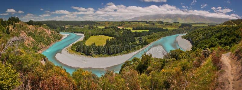 Het gezichtspunt van de Rakaiarivier, dichtbij Christchurch, Nieuw Zeeland royalty-vrije stock foto