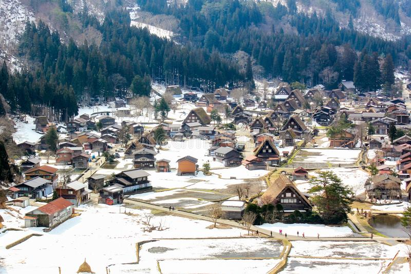Het gezichtspunt van historisch dorp shirakawa-gaat en Gokayama, Gassho- stock foto