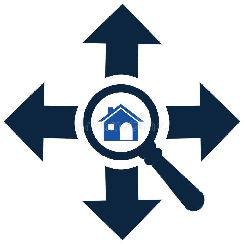 Het gezoem binnen of zoekt huis in elk richtingspictogram zoek stock illustratie