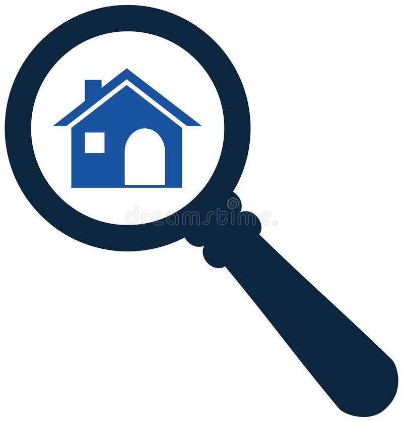 Het gezoem binnen of zoekt huispictogram Zoek naar huisconcept ic stock illustratie