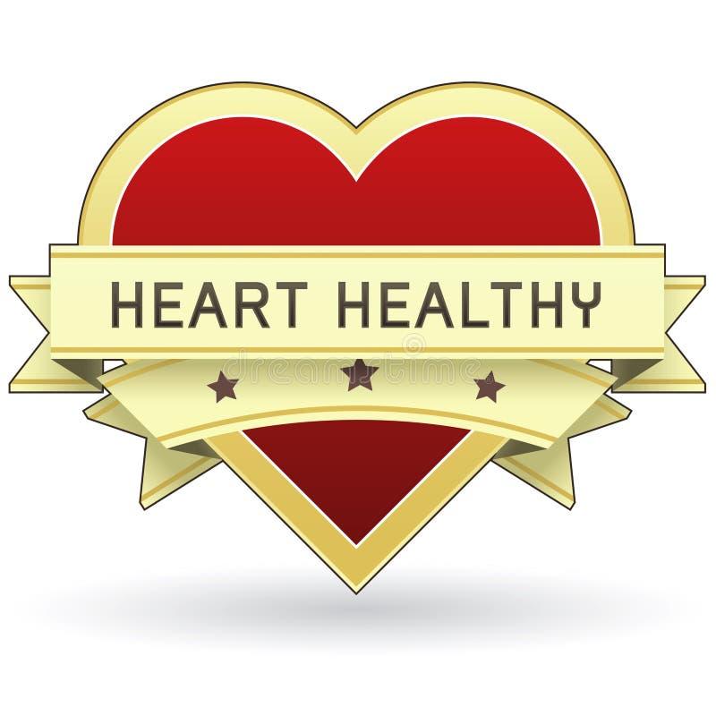 Het Gezond voedsel van het hart en productetiket of sticker stock illustratie