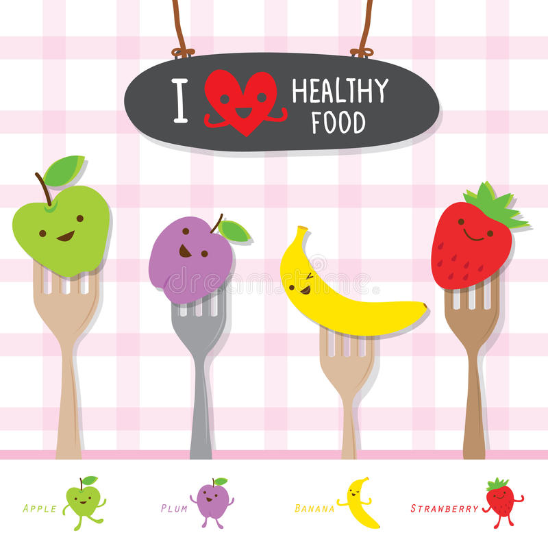 Het gezonde Dieet van het Voedselfruit eet de Nuttige Leuke Vector van het Vitaminebeeldverhaal stock illustratie