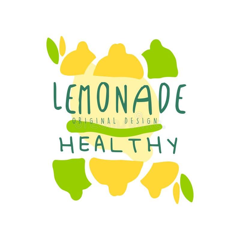Het gezonde embleem van het limonade gezonde originele ontwerp, de kleurrijke hand getrokken vectorillustratie van het natuurlijk vector illustratie