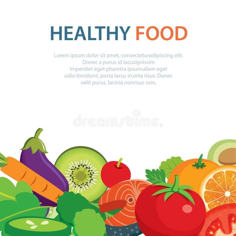 Het gezonde en schone vlakke ontwerp van het voedselconcept royalty-vrije illustratie
