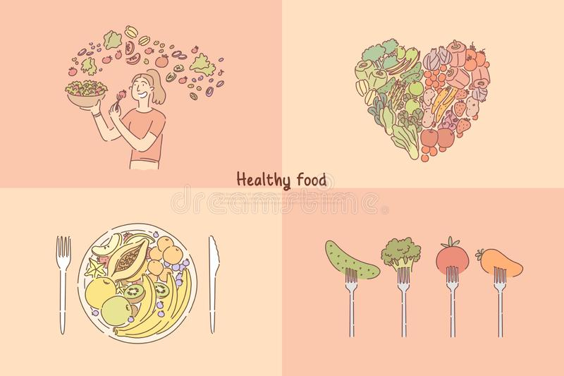 Het gezonde eten, fruit en vegetarische maaltijd, vrouwen kokende veggies salade, vegetarisch dieet, vitaminen en voedingsbanner royalty-vrije illustratie