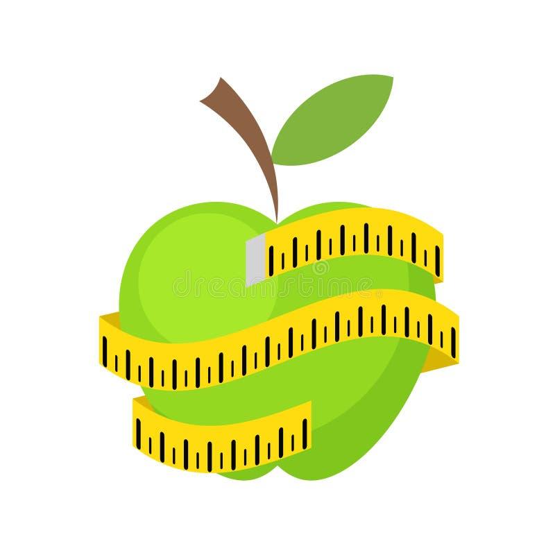 Het gezonde eten of houdt een affiche van het dieetconcept met groene appel vector illustratie