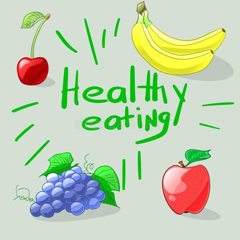Het gezonde Eten Reeks kleurrijke beeldverhaalvruchten Vector illustrat vector illustratie