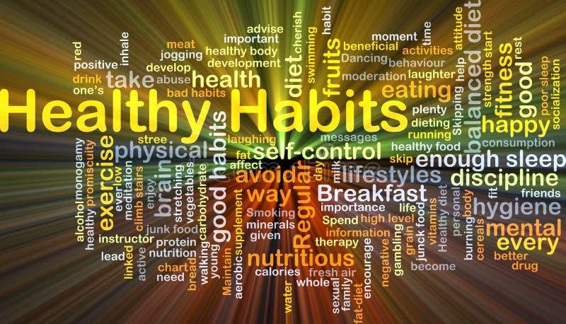 Het gezonde gewoonten achtergrondconcept gloeien vector illustratie