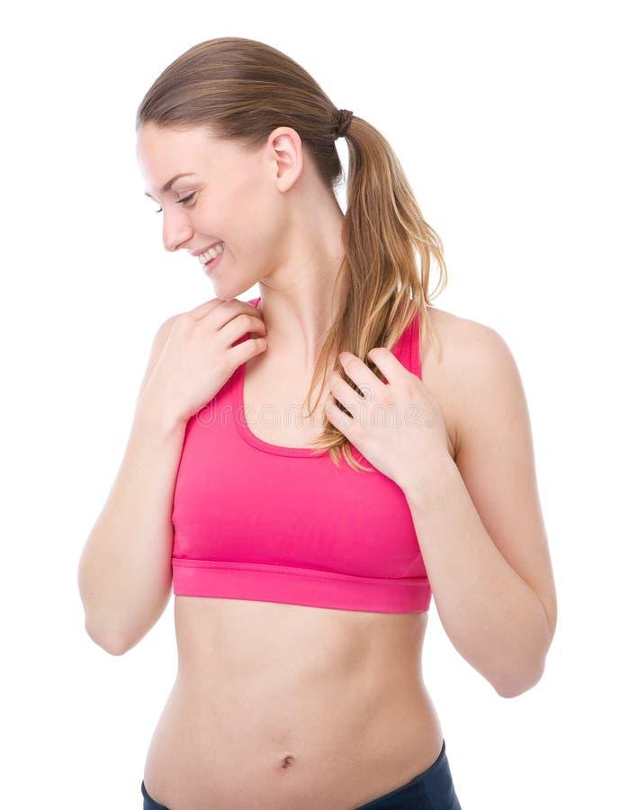Het gezonde jonge vrouw glimlachen stock foto's