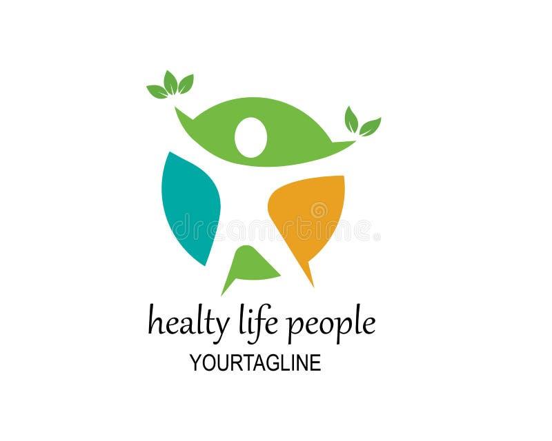 Het gezonde Leven, de medische vector van het Embleemmalplaatje royalty-vrije illustratie