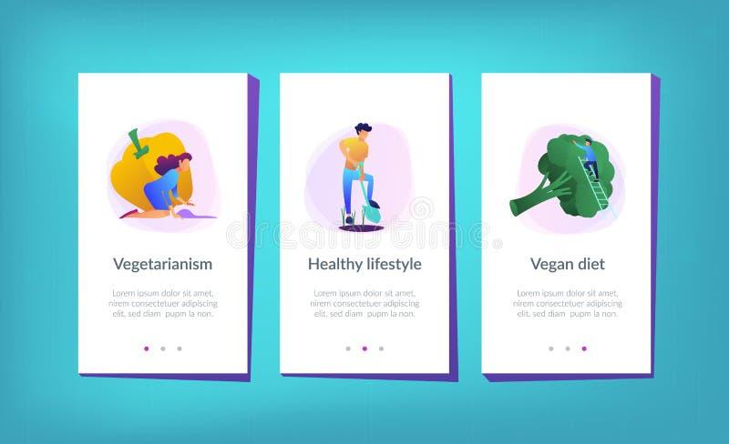 Het gezonde malplaatje van de levensstijlui UX app interface vector illustratie