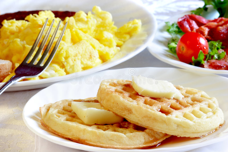 Het gezonde ontbijt van de wafel royalty-vrije stock fotografie