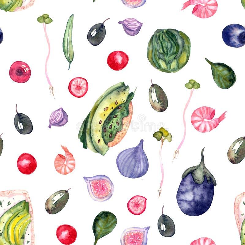 Het gezonde patroon van de voedselwaterverf vector illustratie