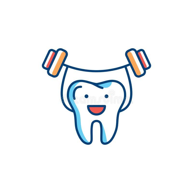 Het gezonde pictogram van de tandenlijn, Sterke tand houdt barbell Het tandconcept van het zorgembleem, tandkliniek logotype malp royalty-vrije illustratie