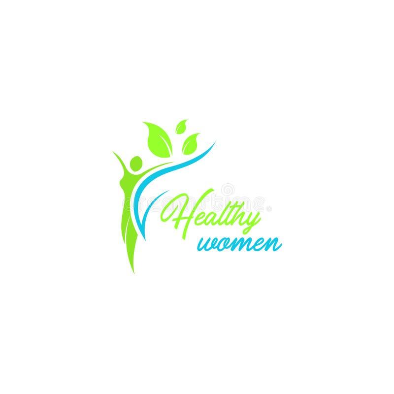 Het gezonde vectormalplaatje van het vrouwenembleem Embleemmalplaatje voor uw zaken stock illustratie